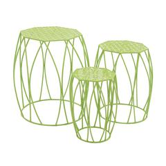 Benzara Nature'S Set Of 3 Metal Green Plant Stand
