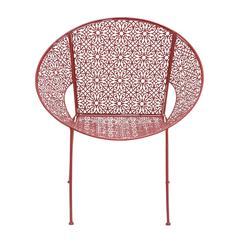 Benzara The Bright Metal Red Chair