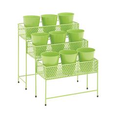 Benzara The Simple Metal 3 Tier Plant Stand Green
