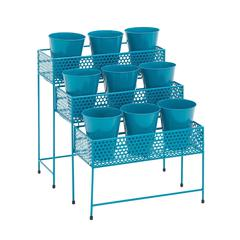 Benzara The Cool Metal 3 Tier Plant Stand Blue