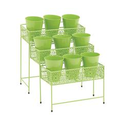 Benzara The Ultra Cool Metal 3 Tier Plant Stand Green