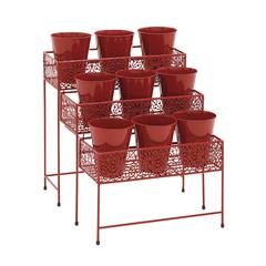 Benzara The Bright Metal 3 Tier Plant Stand Red