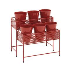 Mesmerizing Artistic Styled Metal 2 Tier Plant Stand Red