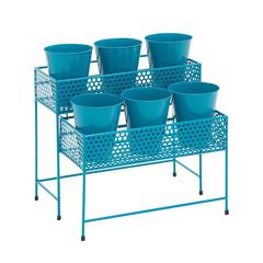 Benzara Attractive Styled Metal 2 Tier Plant Stand Blue