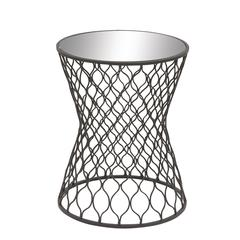 Chic Metal Mirror Round Accent Table