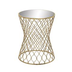 Benzara Lovely Metal Mirror Round Accent Table