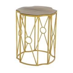 Benzara Modernly Styled Metal Wood Accent Table