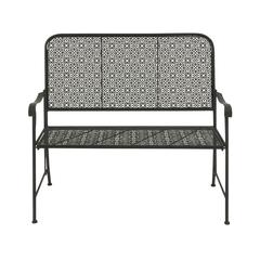 Benzara Modish Metal Flower Bench