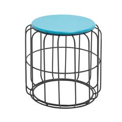Classy Metal Accent Table In Blue And Black Color