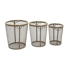 Benzara Stylish Metal Rope Basket Set Of 3