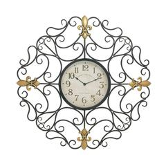 Customary Styled Metal Outdoor Scroll Wall Clock