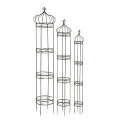 Benzara Beautiful Metal Round Trellis Set Of 3