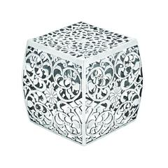 Metal Stool With Cube Shaped And Intricate Design