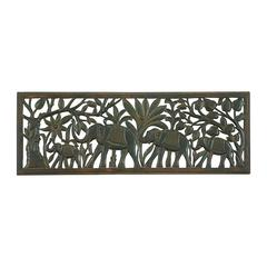Benzara Marching Elephants Wood Wall Decor Panel