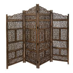 Benzara Villa Este Wood Room Divider 4 Panel Carved Screen