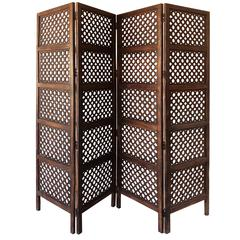 Benzara A Stylish 4 Hinged Wood 4 Panel Screen