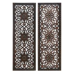 "Elegant Wall Sculpture - Wood Wall Panel 2 Assorted 48""H, 16""W"