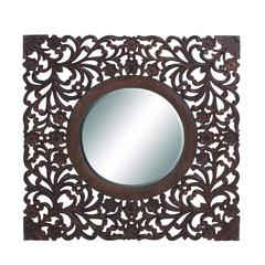 Ethnic Circular Shaped Mirror With Beautifully Carved Wooden Frame