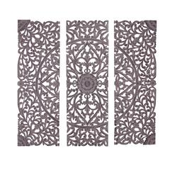 Benzara The Must Have Set Of 3 Wood Carved Wall Panel