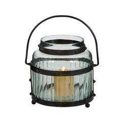 Glass Lantern With Metal Handle And The Frame Sport