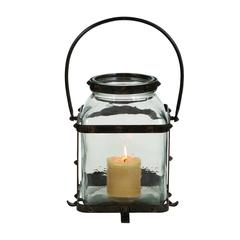 Benzara Metal Glass Lantern In Worn And Aged Finish