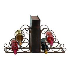 Metal Bookend Wine Holder In Brown Color