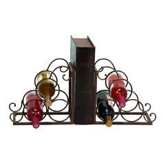 Benzara Metal Bookend Wine Holder In Brown Color