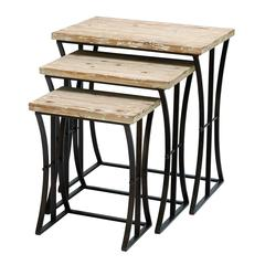 "Metal Wood Nesting Table Set/3 26"",22"",19""H Accent Collection"