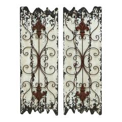 "Benzara Elegant Wall Sculpture - Wood Metal Wall Decor Set/2 32""H, 11""W"