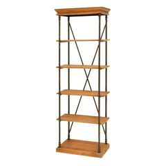 Sophisticated Wooden And Metal Shelf In Brown And Black