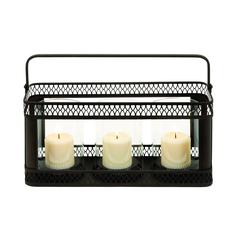 Benzara Candle Holder In Black Finish With Solid Construction