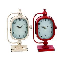 Clock With Solid Construction In Worn Out Look - Set Of 3