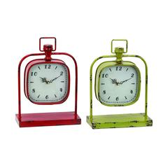 Benzara Clock With Fusing Classic Design In Red & Yellow - Set Of 2