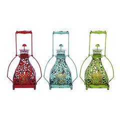 Benzara Metal Candle Holder 3 Assorted With Vibrant Colors