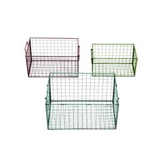 Metal Wire Basket Set Of Three With Three Different Colors Of Red, Blue And Green