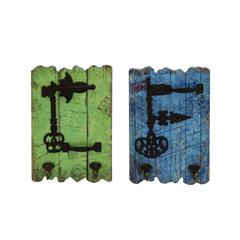 Benzara Stylish And Rustic Wood Metal Hooks Set Of Two With Imprinted Stamps And Writings
