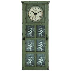 Rustic And Stately Design Wood Clock With Photo Frame For Six Photos
