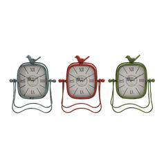 Benzara Bright Colored Metal Table Clock 3 Assorted