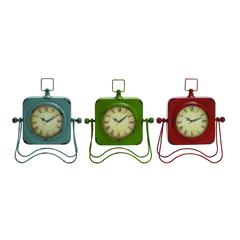 Benzara Adorable Metal Table Clock Assorted Set Of Three With Vibrant Colors Of Blue, Green And Red