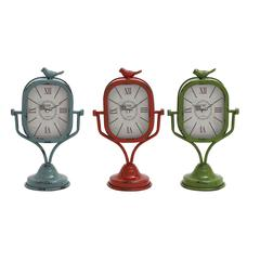 Benzara Metal Table Clock Assorted Set Of Three With Vibrant Colors Of Blue, Red And Green