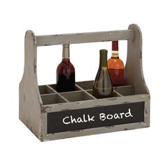 Unique Styled Wood Wine Basket With Blue Chalk Board