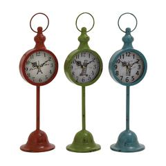 Benzara The Statuesque Metal Table Clock 3 Assorted