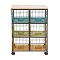 The Handy Metal Wood Basket Cart