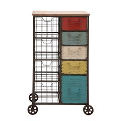 Benzara The Wonderful Metal Wood Storage Cart