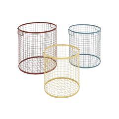 Benzara The Colorful Set Of 3 Metal Basket