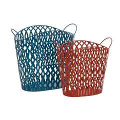 Benzara Matchless In Beauty Metal Basket Set Of 2