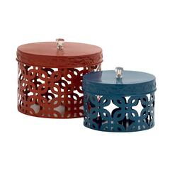 Benzara Too Beautiful Metal Acrylic Box Set Of 2