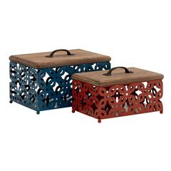 Simply Beautiful Metal Wood Box Set Of 2