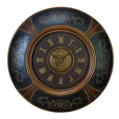 Benzara Wood Leather Wall Clock With Royal Look