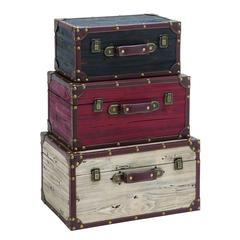Wooden And Leather Trunk With American Flag Design - Set Of 3
